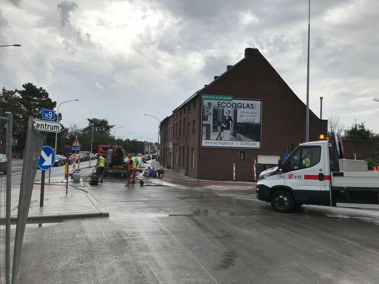 Verkeershinder op de Gentsesteenweg in Aalst.