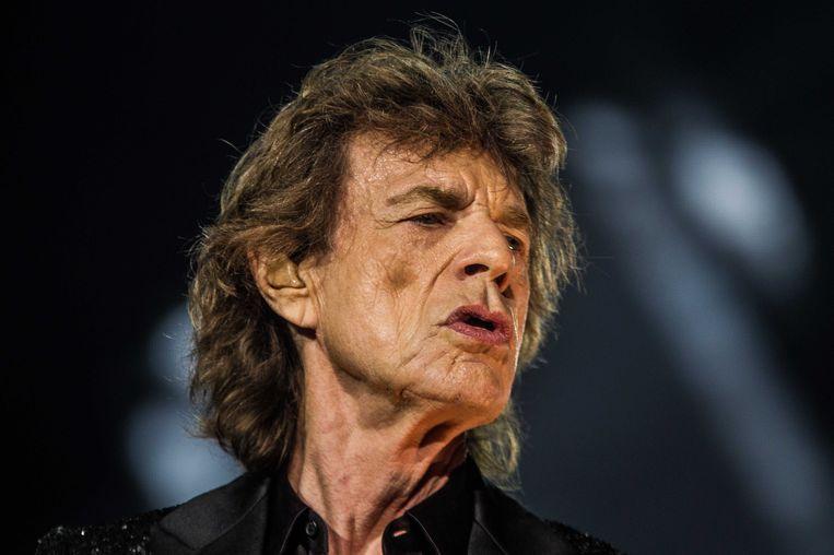 Leadzanger Mick Jagger van de Rolling Stones tijdens de show de Gelredome. Beeld ANP