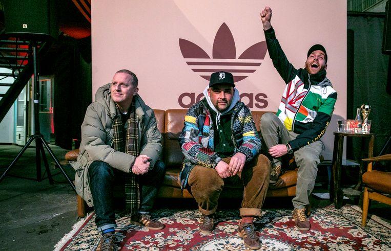 "Legende Gary Aspden (Adidas Special Range), influencer Tommy Triggah en Rolph van Heyster (Calico Jack Store). Triggah: ""Mensen maken het merk, en niet andersom."" Beeld Amaury Miller"