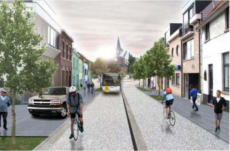 Een toekomstbeeld van de Spanjebergstraat, volgens het huidige masterplan. Met aparte baan voor de bus.