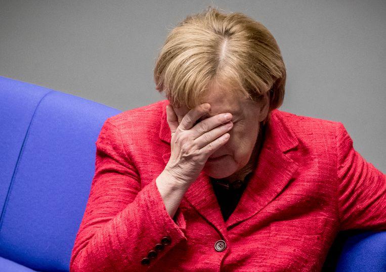 Bondskanseliers Merkel was gisteren aanwezig bij een plenaire sessie van het Duitse parlement.  Beeld AP