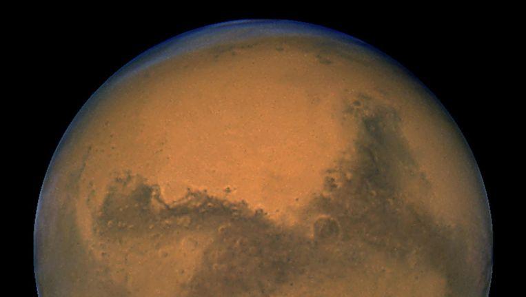 Dit is Mars, uit een foto van 2003. De planeet heeft geen 'ring' om zich hangen, maar daar komt mogelijk verandering in. Beeld afp