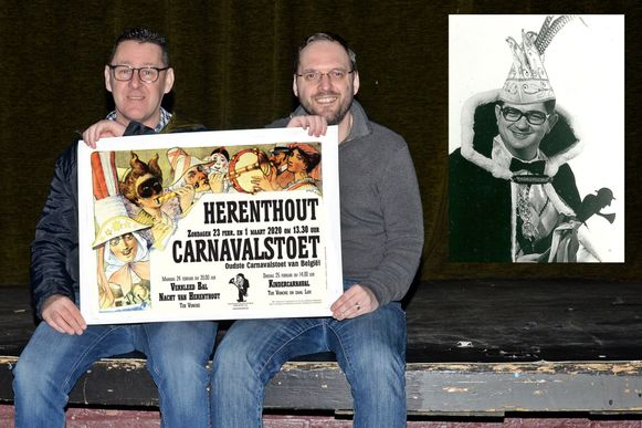 Luc Janssens en Davy Snijers  kunnen na tien jaar weer terecht in Zaal Lux voor de organisatie van het kinderkarnaval.  Kleine foto: het Kinderkarnaval vond voor het eerst plaats in 1975, toen Leon Witvrouwen prins was.