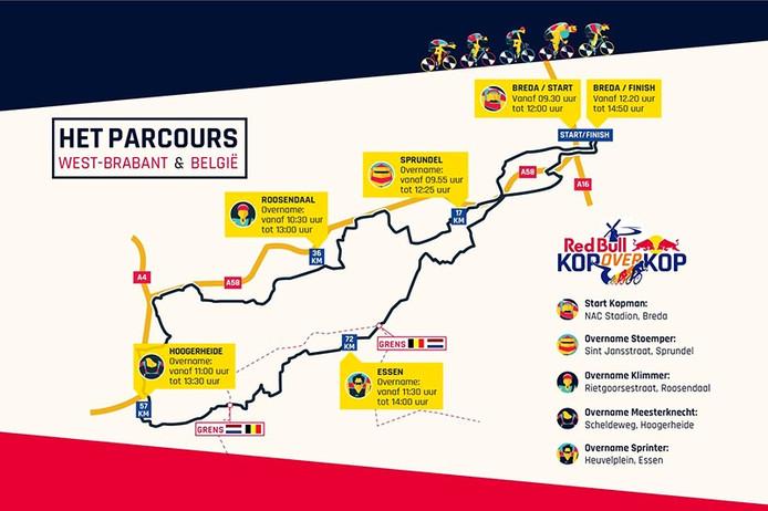 Parcours van Red Bull Kop over Kop door West-Brabant en België