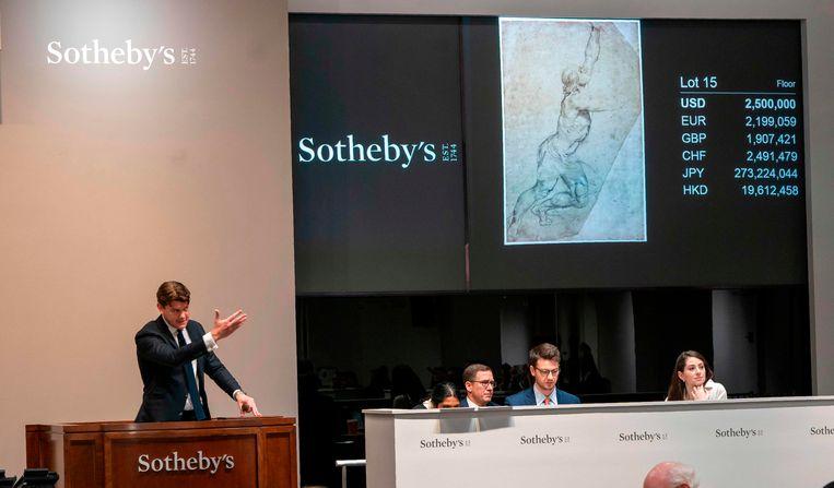 De schets van Rubens wordt geveild. Beeld AFP