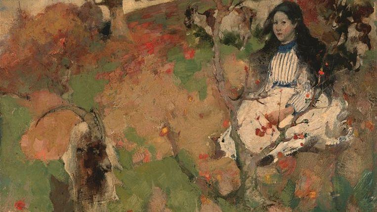 The Goatherd van Edward Atkinson Hornel Beeld Drents Museum