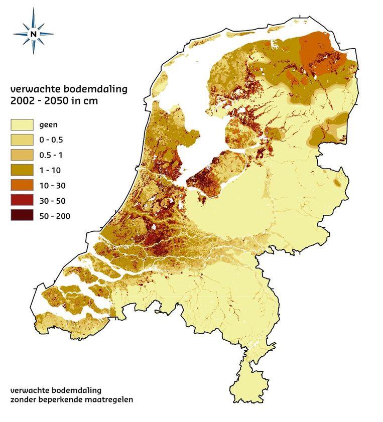 De verwachte bodemdaling in 2050 Beeld bodemdalingskaart.nl