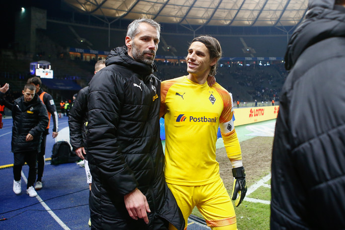 Trainer Marco Rose en keeper Yann Sommer.