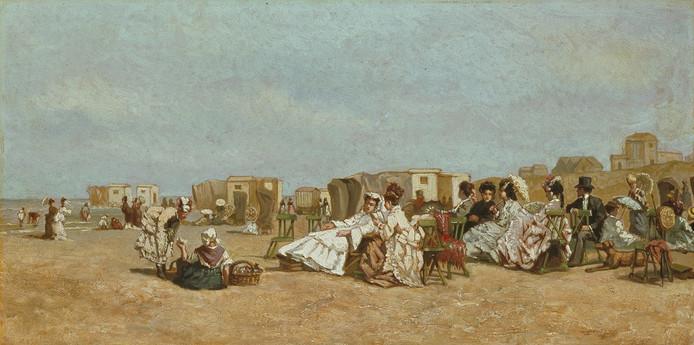 Door schilder Joseph Bles vastgelegd strandtafereel uit het derde kwart van de 19de eeuw.