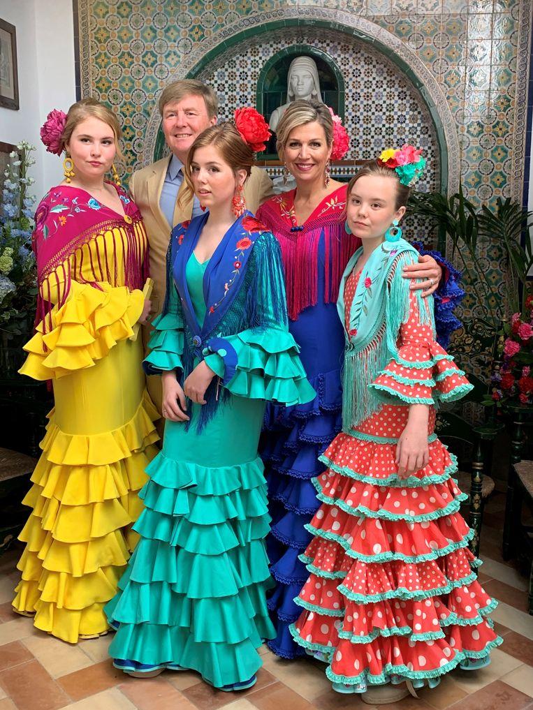 De kerstfoto van het koninklijk gezin, eerder dit jaar gemaakt in Sevilla.