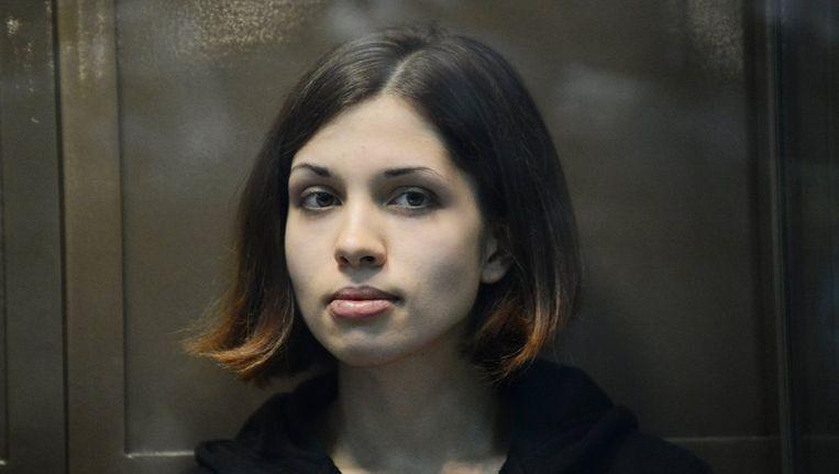 Nadezjda Tolokonnikova in oktober 2012 in een rechtbank in Rusland Beeld ANP