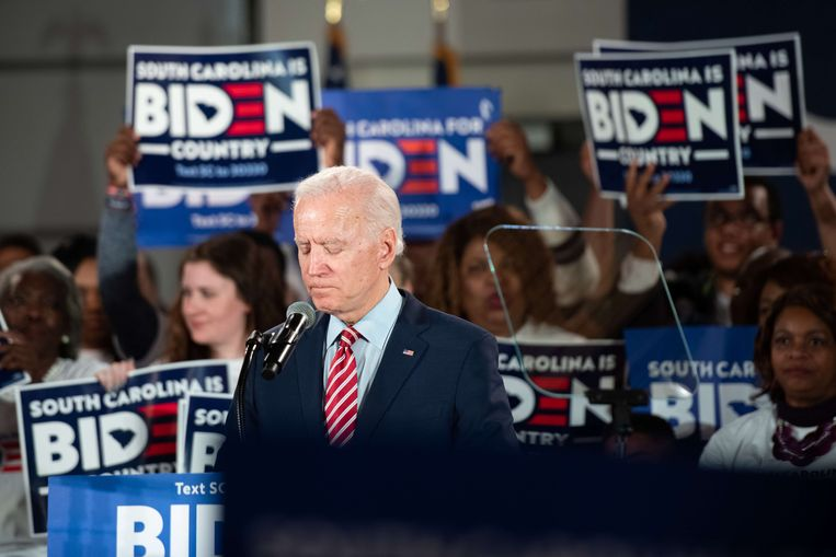 Joe Biden op een bijeenkomst in South Carolina.