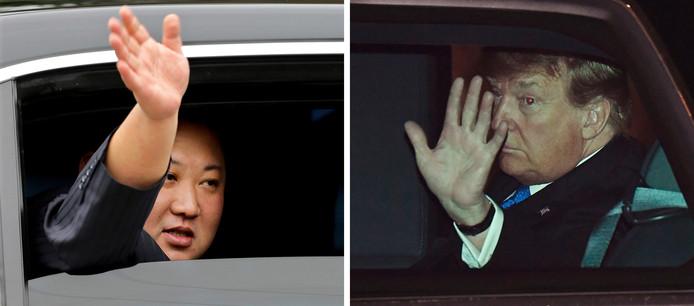 Kim Jong-un (links) vanuit een auto nadat hij met de trein was gearriveerd