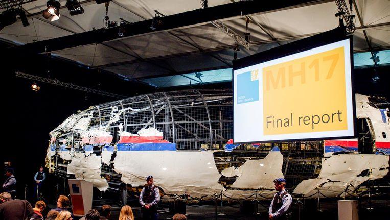 De zaal waar het rapport van de Onderzoeksraad voor Veiligheid (OVV) met de resultaten van het onderzoek naar de oorzaak van de ramp met vlucht MH17 werd gegeven Beeld anp