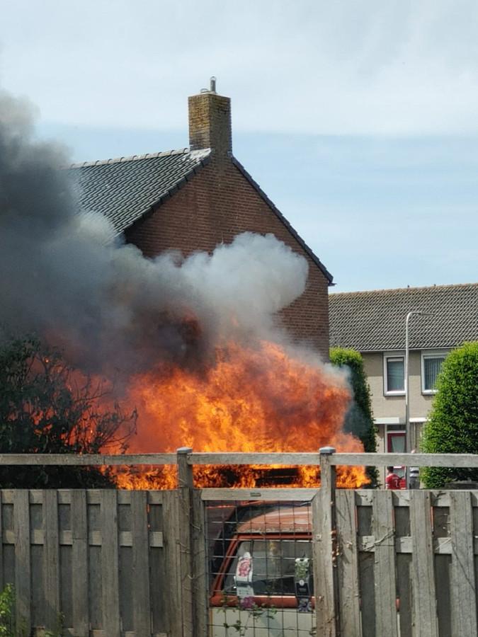 brand in een schuur aan de Reinier de Graafstraat in Schoonhoven.