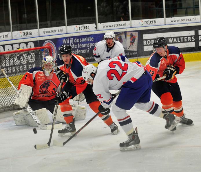 Archieffoto van het Nederlands ijshockeyteam.