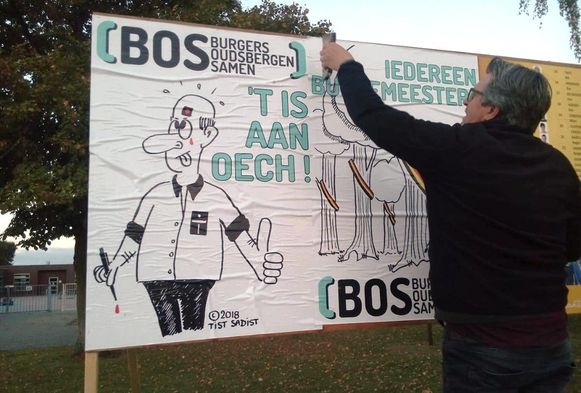 De partij BOS kiest voor cartoons als blikvanger op de verkiezingsaffiches.