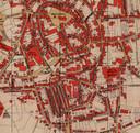 Enschede in 1907. De Krim is linksonder te zien als enkele evenwijdige straatjes, ongeveer op de plek waar tegenwoordig het oude postkantoor is tot het terrreintje erachter met onder meer de ANWB-winkel.