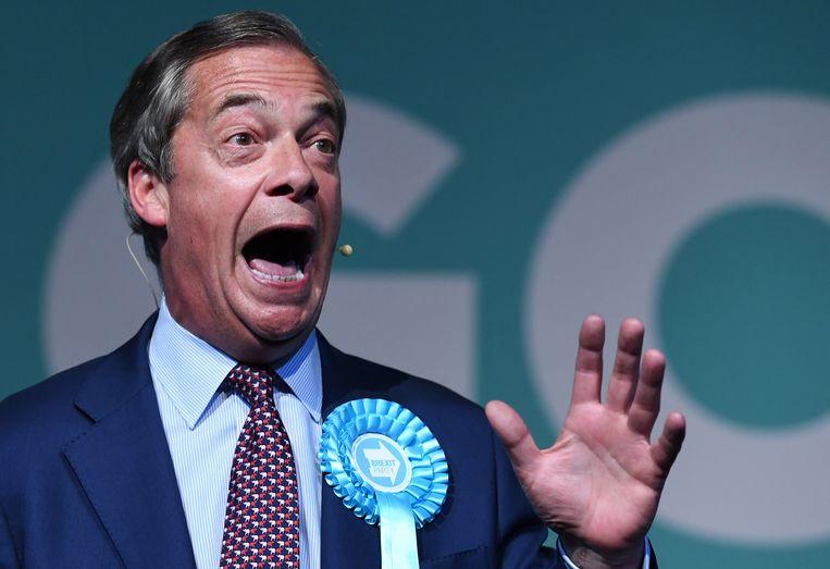 Nigel Farage, de leider van de Brexit Party.