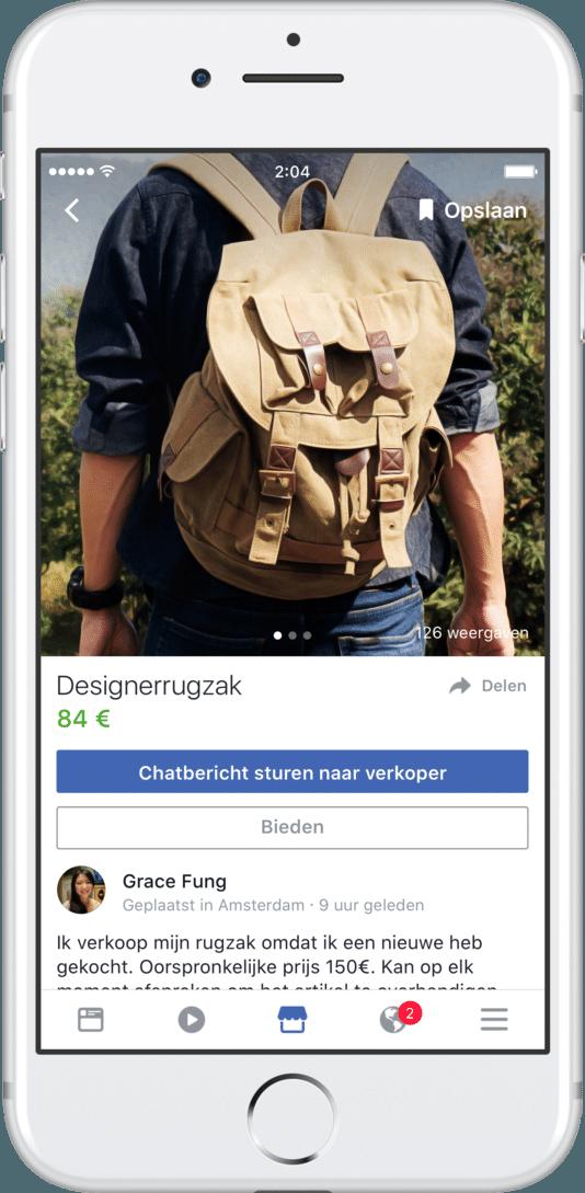 Bij Facebook kunnen voortaan ook spulletjes worden verkocht via 'Marketplace'