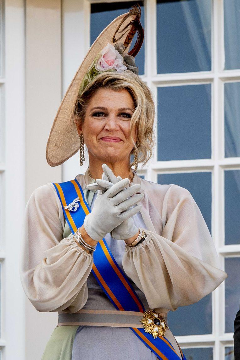 Koningin Maxima op het balkon bij Paleis Noordeinde op Prinsjesdag.