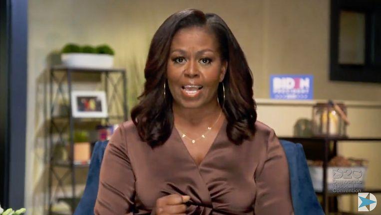 De voormalige first lady Michelle Obama tijdens de eerste dag van de Nationale Democratische Conventie Beeld Hollandse Hoogte / AFP