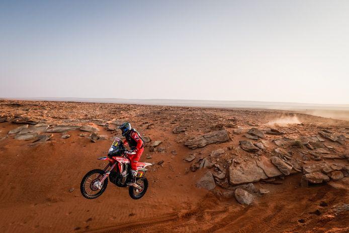 Kevin Benavides in actie in de Dakar Rally.
