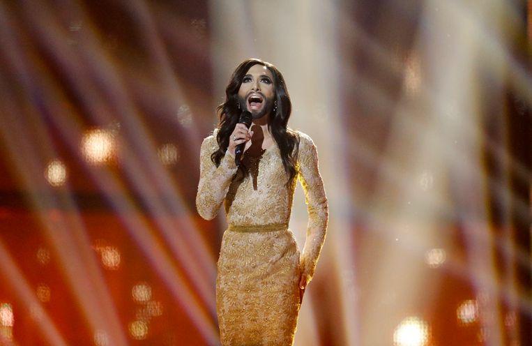 Conchita Wurst tijdens het Eurovisie Songfestival dat ze in 2014 won.