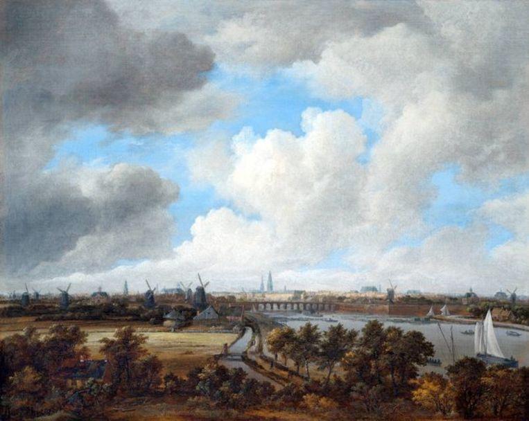Jacob Isaacksz van Ruisdael: Gezicht op Amsterdam vanaf de Amsteldijk, ca. 1680 Beeld