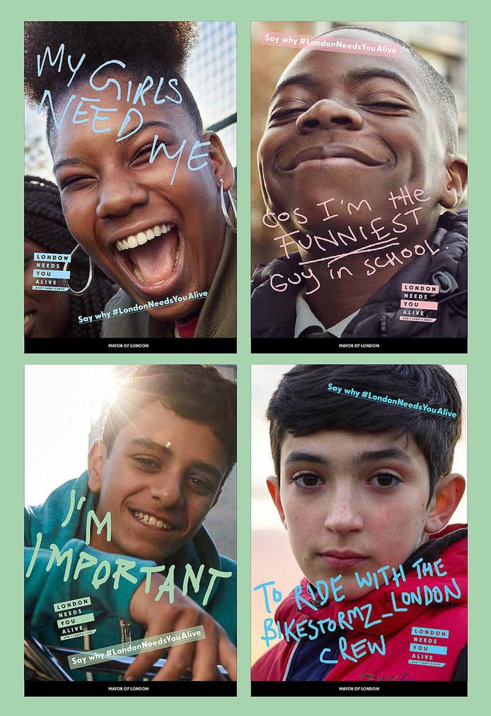 Posters van de campagne London Needs You Alive. De Britse hoofdstad gaat hiermee het wapengeweld onder tieners te lijf.