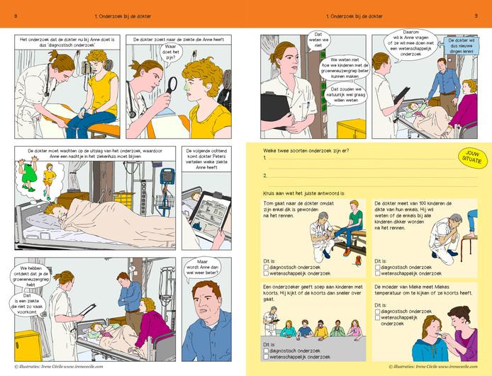 In Grootens' strip staat een meisje centraal dat lijdt aan groeneneuzengriep.  Illustratie Irene Cécile