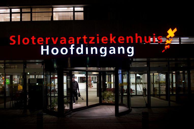 De hoofdingang van het Slotervaartziekenhuis in Amsterdam. Beeld ANP