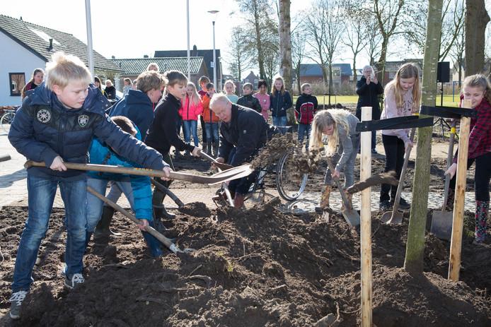 Leerlingen van de Tellegenschool in Wijhe planten een moeraseik. In het midden wethouder Herman Engberink.