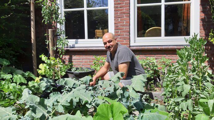 Omar uit Irak onderhoudt de moestuin in het Mondiaal Centrum Breda.