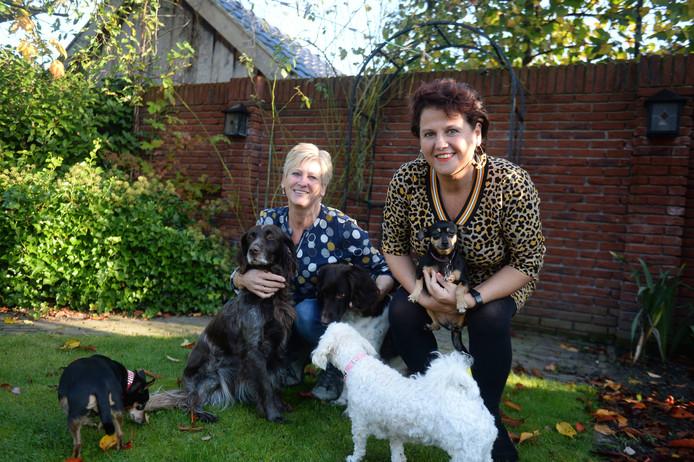Initiatiefnemer Rita Sleiderink (rechts) van het project Oale leu andermans hond, met Jolanda Bouhuis, die haar helpt.