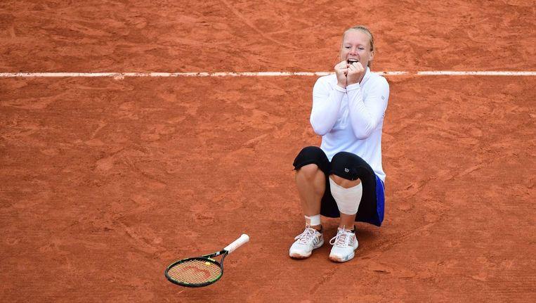 Kiki Bertens donderdag, na haar overwinning in de kwartfinale. Beeld photo_news