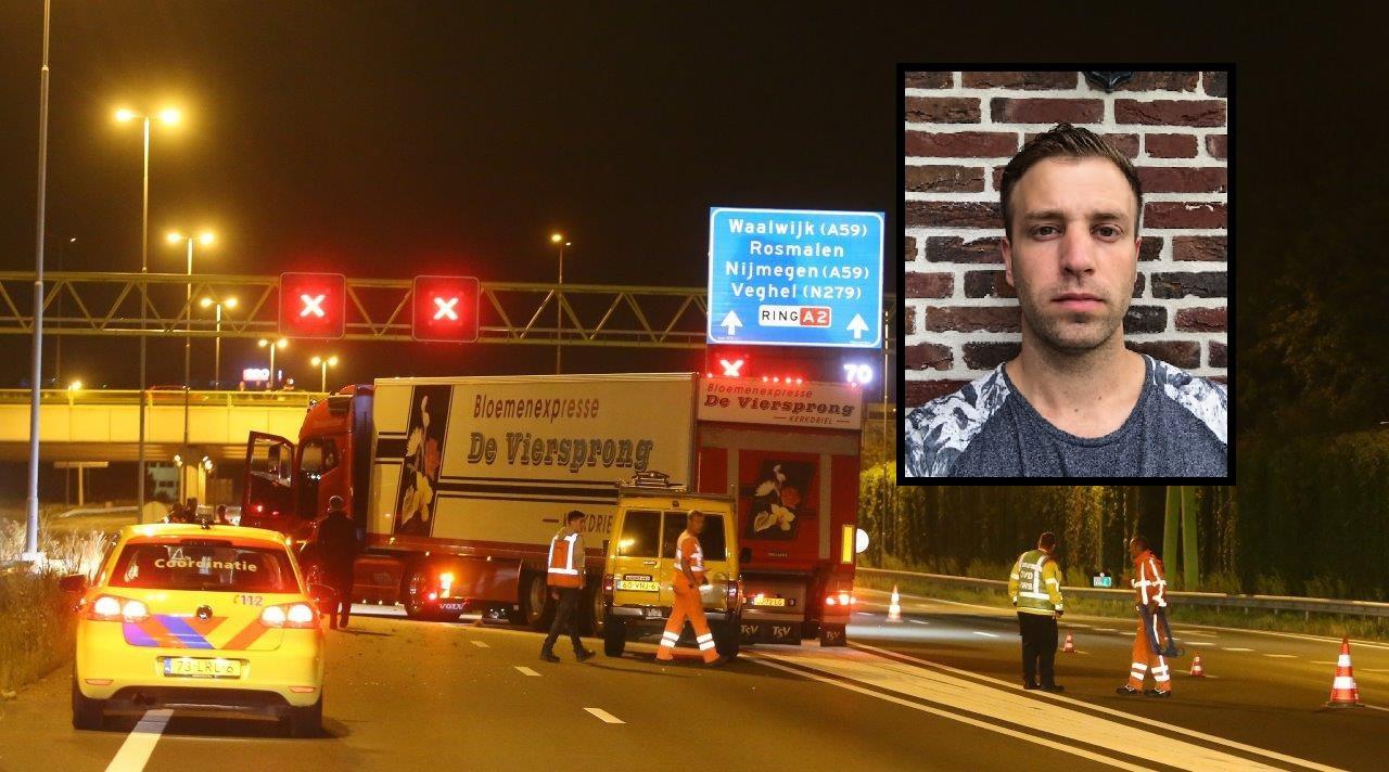 Vrachtwagenchauffeur Nick (inzet) zette zijn truck overdwars op de weg, om de slachtoffers te beschermen.