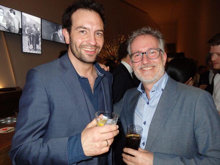 Acteur Jeroen Spitzenberger (l): 'Deze man is een veel-zijdig regisseur.' Veelzijdig regisseur Hans Erik Kraan: 'Ik ben hier heel erg door geraakt.' Beeld Schuim
