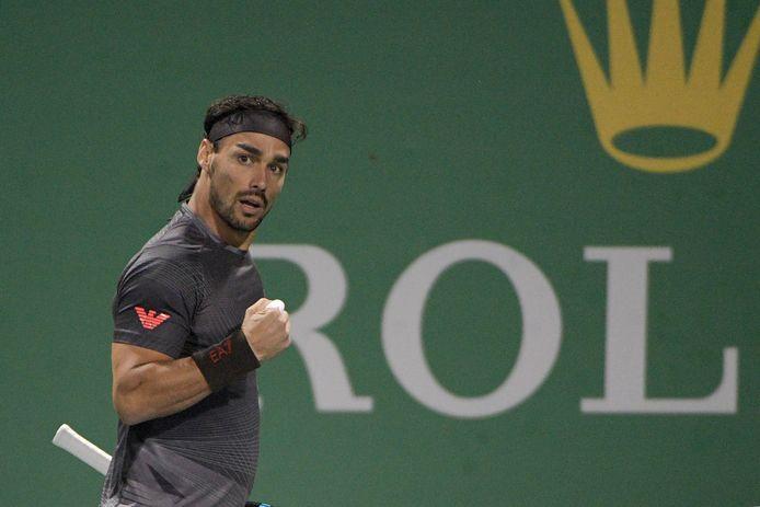 Fabio Fognini reageert na een gewonnen punt tegen Andy Murray, dinsdag in Sjanghai.