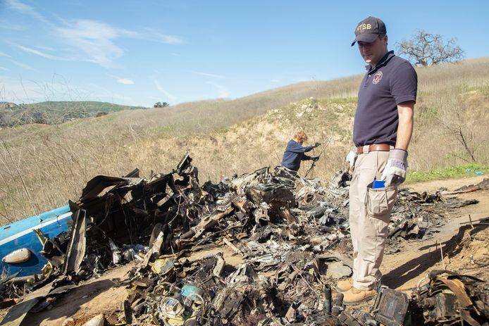 Een blik op de brokstukken na de fatale crash.