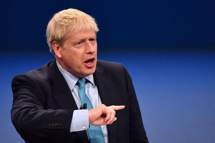 Boris Johnson tijdens zijn speech op het partijcongres.