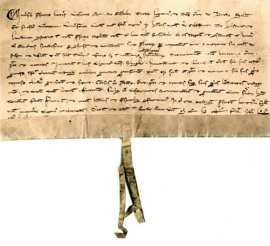 """Acte uit 1268 in het jubileumboek Roosendaal 750 jaar waarin Roosendaal het eerst officieel genoemd wordt """"In loco dictu Rosendale"""" Foto Gemeentearchief Roosendaal"""