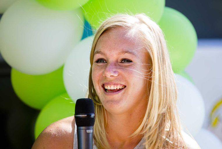 Kiki Bertens bij een huldiging op haar oude basisschool in Wateringen, na haar optreden op Roland Garros. Beeld anp