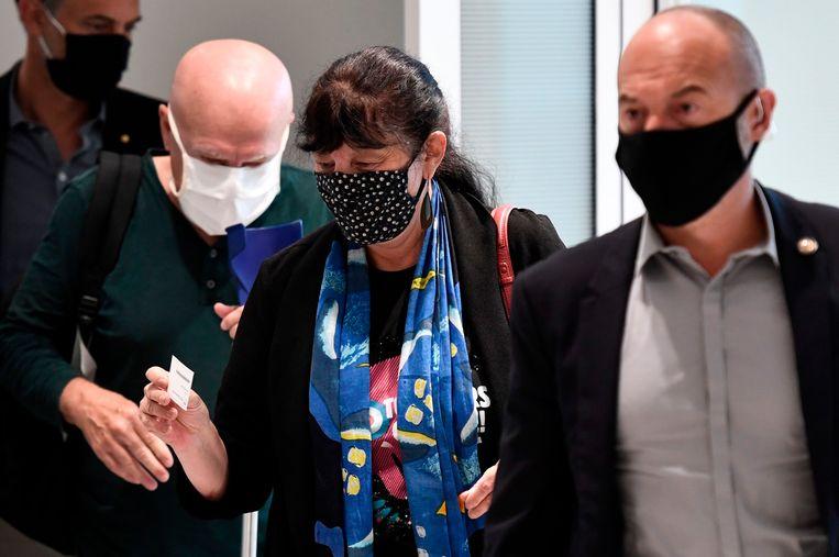 Marika Bret arriveert in de Parijse rechtbank op 9 spetember 2020.  Beeld AFP