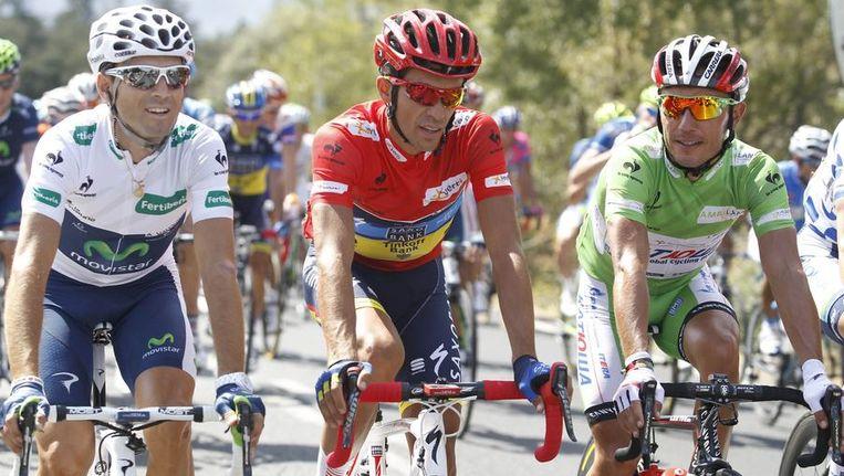 Alberto Contador (m), Alejandro Valverde (l) en Joaquim Rodriguez (r). Beeld reuters