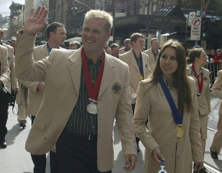 Russell Mark en Lauryn Ogilvie, tegenwoordig Marks echtgenote, tijdens de Commonwealth Games in 2002. Beeld Getty