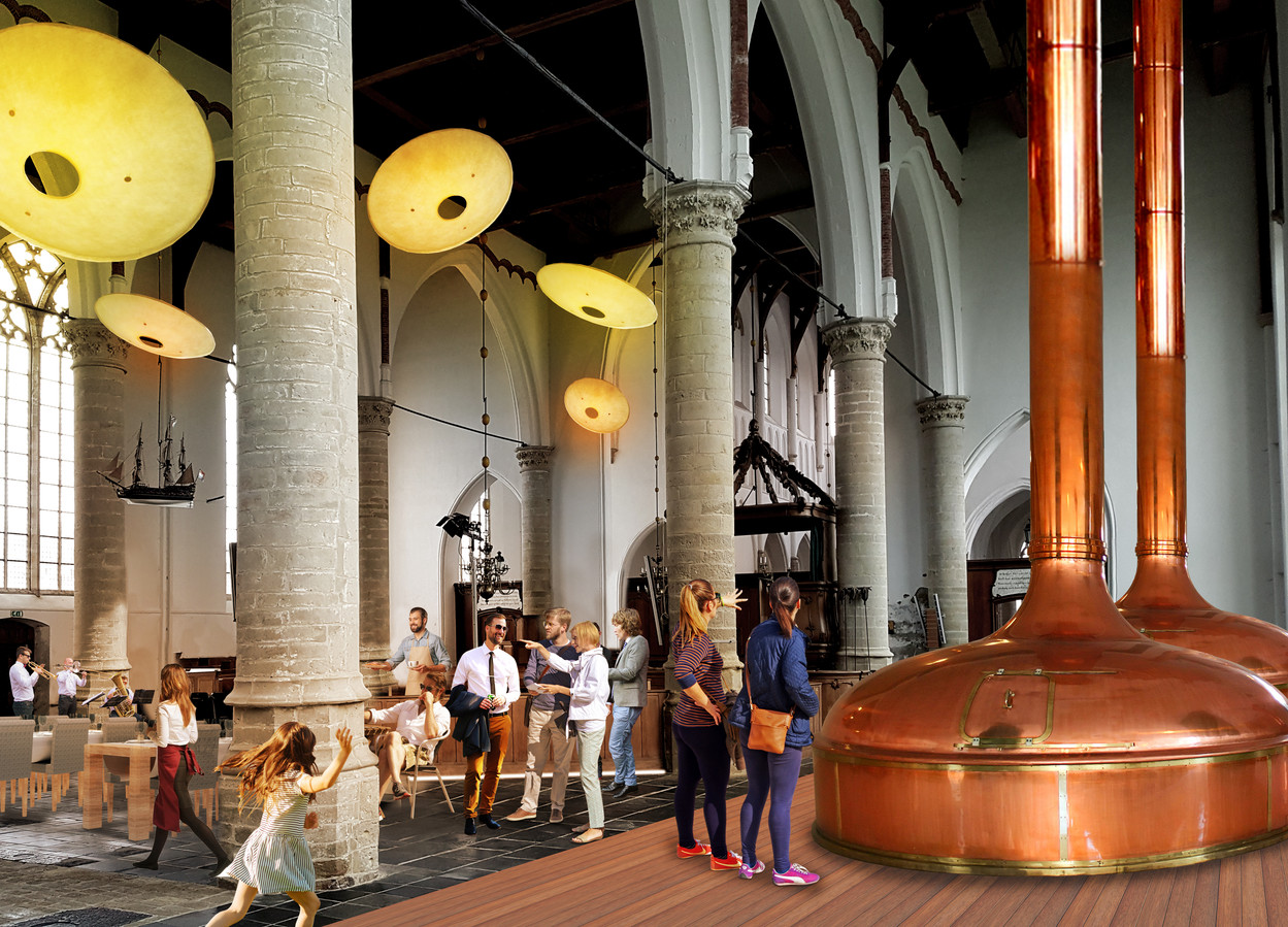 Artist impression van het plan BROUW!. Met onder meer een brouwerij in de Grote Kerk van Brouwershaven en hotelhuisjes aan de voet van de kerk.
