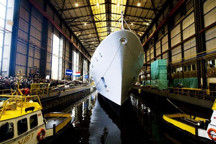 Doop van een patrouilleschip bij Damen in Vlissingen.