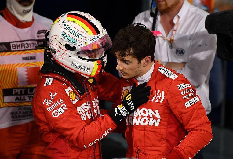 Sebastian Vettel en Charles Leclerc. Beeld Getty Images