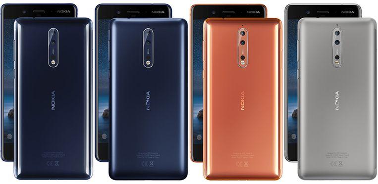 De Nokia 8 in al zijn uitvoeringen.